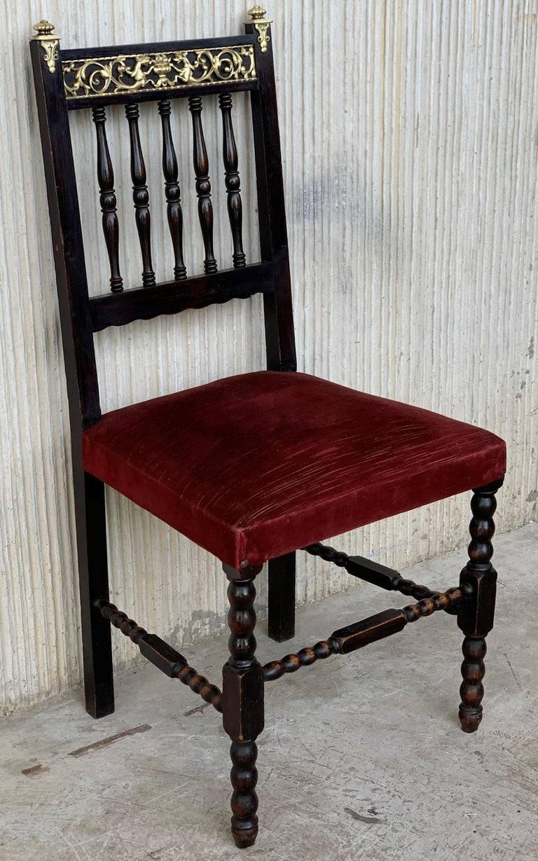 Spanish Colonial 19th Set of Six Spanish Chairs with Bronze Details and Red Velvet Upholstery For Sale