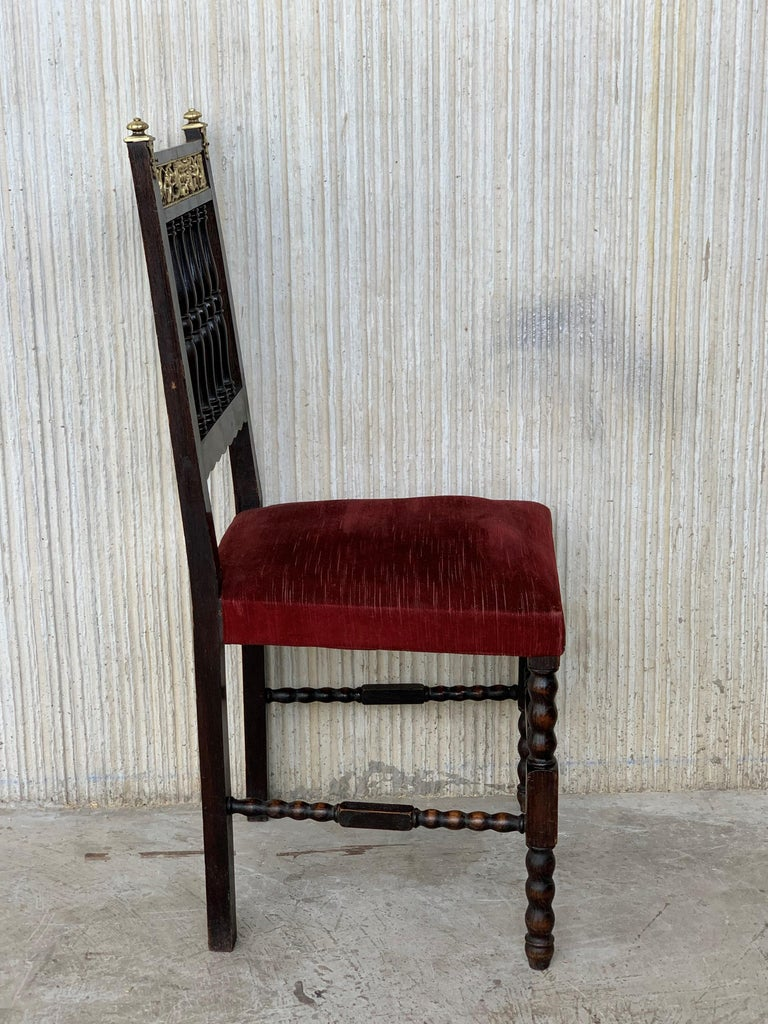 19th Set of Six Spanish Chairs with Bronze Details and Red Velvet Upholstery In Good Condition For Sale In Miami, FL