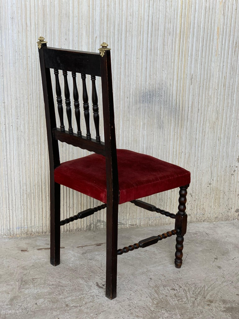 19th Century 19th Set of Six Spanish Chairs with Bronze Details and Red Velvet Upholstery For Sale