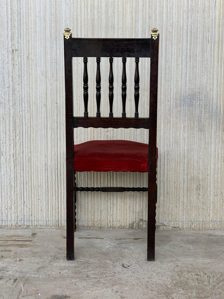 19th Set of Six Spanish Chairs with Bronze Details and Red Velvet Upholstery For Sale 1