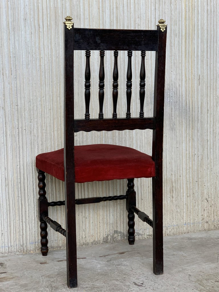 19th Set of Six Spanish Chairs with Bronze Details and Red Velvet Upholstery For Sale 2