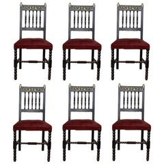 19th Set of Six Spanish Chairs with Bronze Details and Red Velvet Upholstery