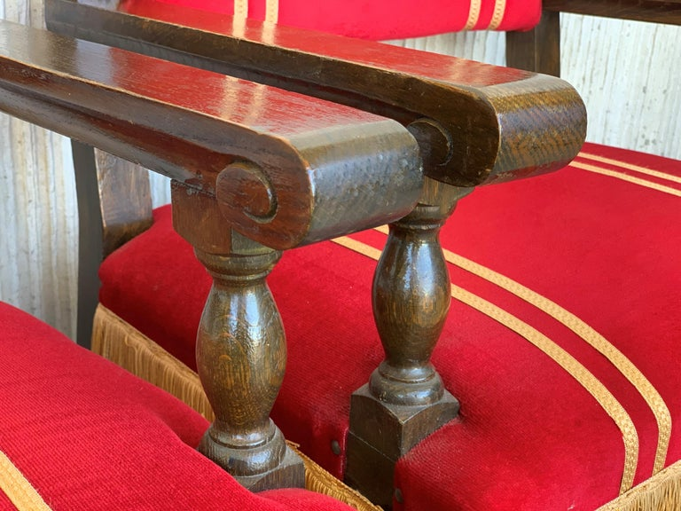 19th Set of Six Spanish Low Armchairs in Carved Walnut and Red Velvet Upholstery For Sale 7
