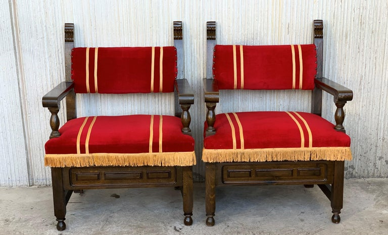 19th Century 19th Set of Six Spanish Low Armchairs in Carved Walnut and Red Velvet Upholstery For Sale