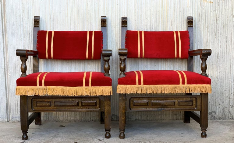 19th Set of Six Spanish Low Armchairs in Carved Walnut and Red Velvet Upholstery For Sale 1