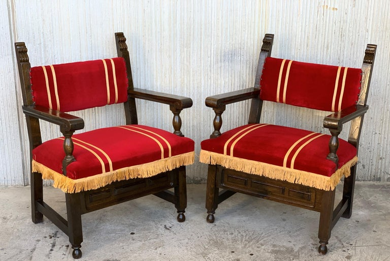 19th Set of Six Spanish Low Armchairs in Carved Walnut and Red Velvet Upholstery For Sale 2
