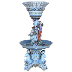 19th Century Sevrès Porcelain Figural Stand Centerpiece Raised Fruit Basket