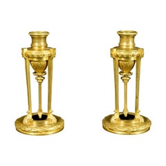 19th, Small Pair of French Chiseled Gilded Bronze Candlesticks