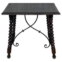19th Spanish Baroque Side Table with Iron Stretcher and Carved Top in Walnut