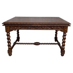 19th Spanish Baroque Walnut Solomonic Legs Extendable Table with Carved Frame