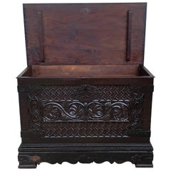 19th Spanish Baroque Walnut Trunk with Handcarved Decoration
