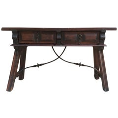 Spanish Bench or Low Console Table with Two Drawers and Iron Stretcher