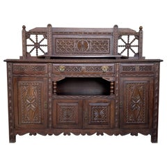 19th Spanish Carved Walnut Cupboard, Buffet with Crest