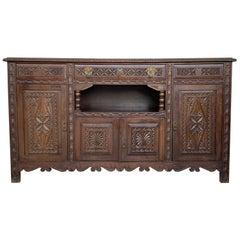 19th Spanish Carved Walnut Cupboard or Buffet