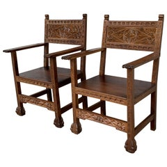 19th Century Spanish Colonial Altar Carved Armchairs with Wood Seat
