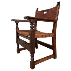 19th Spanish Colonial Throne Armchair with Leather