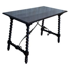 19th Spanish Console or Desk Table with Iron Stretcher and Solomonic Legs