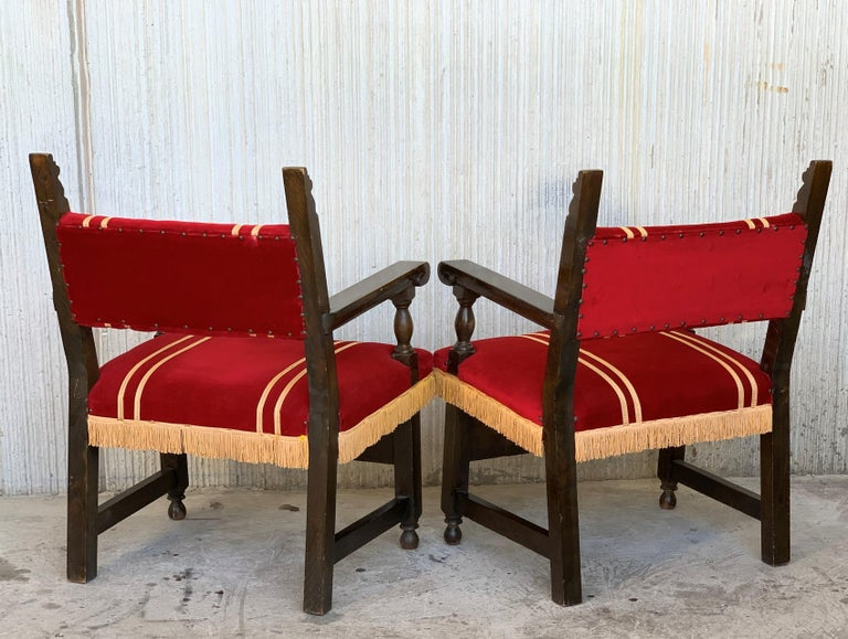 Spanish Low Armchairs in Carved Walnut and Red Velvet Upholstery '46units' For Sale 5