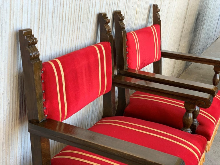 Spanish Low Armchairs in Carved Walnut and Red Velvet Upholstery '46units' For Sale 6
