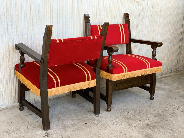 Spanish Colonial Spanish Low Armchairs in Carved Walnut and Red Velvet Upholstery '46units' For Sale