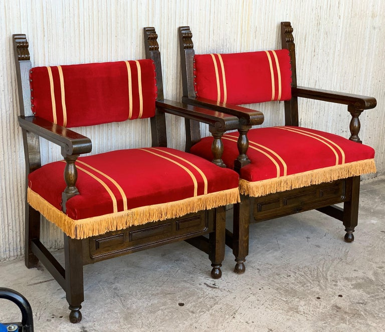 Spanish Low Armchairs in Carved Walnut and Red Velvet Upholstery '46units' In Good Condition For Sale In Miami, FL