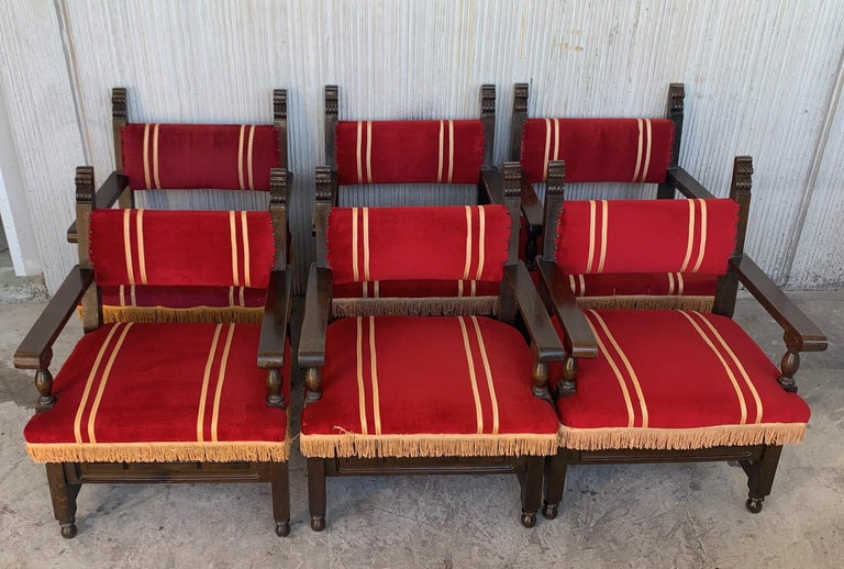 Spanish Low Armchairs in Carved Walnut and Red Velvet Upholstery '46units' For Sale 1