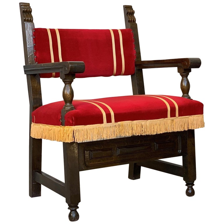 Spanish Low Armchairs in Carved Walnut and Red Velvet Upholstery '46units' For Sale