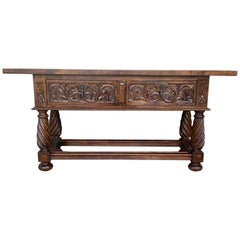 19th Spanish Low Console Table with Solomonic Legs & Two Carved Drawers