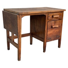19th Spanish Old Pine Desk with Folding Leaf and File Space