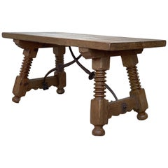 19th Spanish Side Table or Coffee Table with Iron Stretcher