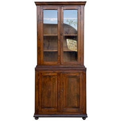 19th Century Spanish Vitrine, Bookcase Tallboy Cabinet with Glass Doors