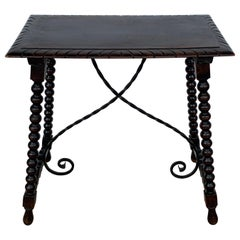 19th Spanish Walnut Side Table with Turned Legs and Beleveled Top