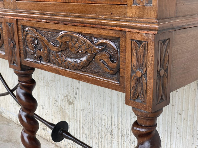 19th Century Wood Carved Cupboard, Cabinet on Stand with Iron Stretcher For Sale 6