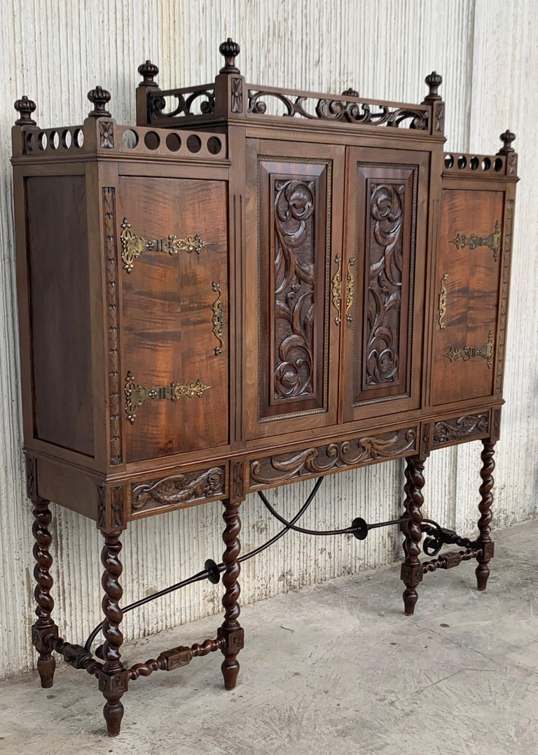 Baroque Revival 19th Century Wood Carved Cupboard, Cabinet on Stand with Iron Stretcher For Sale