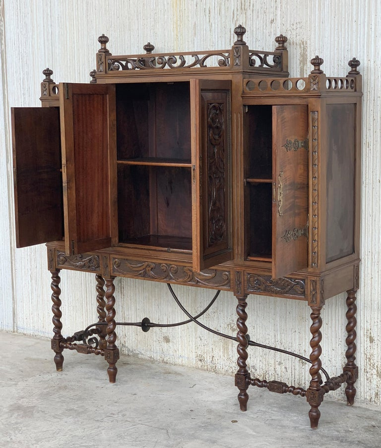 Spanish 19th Century Wood Carved Cupboard, Cabinet on Stand with Iron Stretcher For Sale
