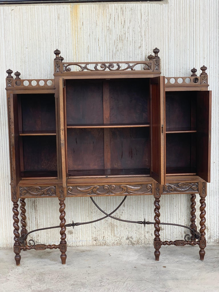 19th Century Wood Carved Cupboard, Cabinet on Stand with Iron Stretcher In Good Condition For Sale In Miami, FL