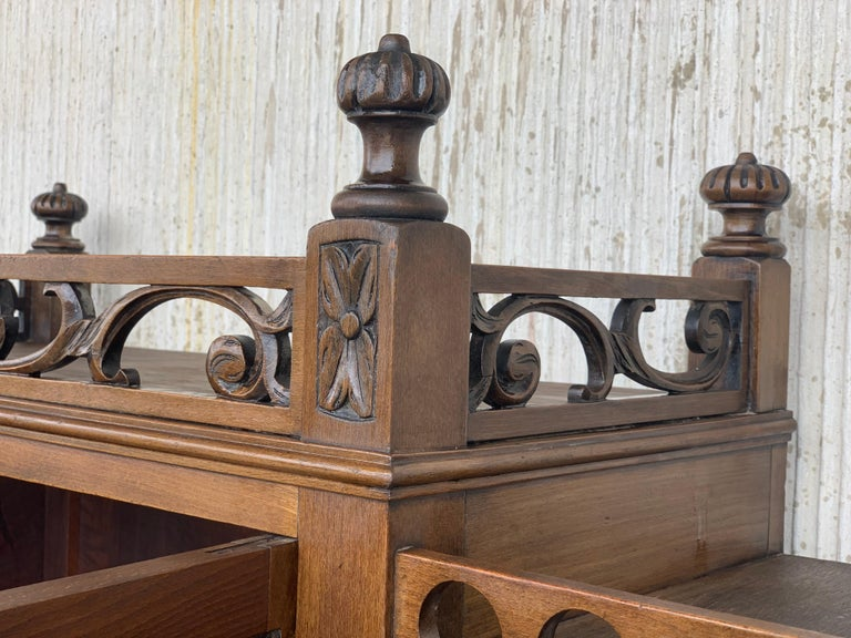 19th Century Wood Carved Cupboard, Cabinet on Stand with Iron Stretcher For Sale 1