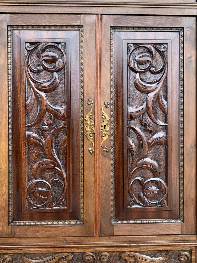 19th Century Wood Carved Cupboard, Cabinet on Stand with Iron Stretcher For Sale 2