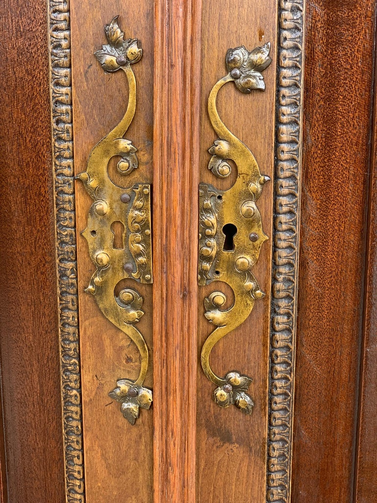 19th Century Wood Carved Cupboard, Cabinet on Stand with Iron Stretcher For Sale 3