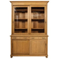 19th Century French Directoire Bleached Oak Bookcase
