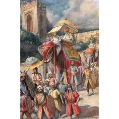 19th-20th Century Watercolor Painting, Depicting the Pageantry of the Mughal