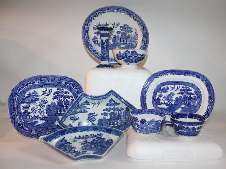 This collection of various blue willow dishes are all in good condition and are all English made pieces. Sold as a group.