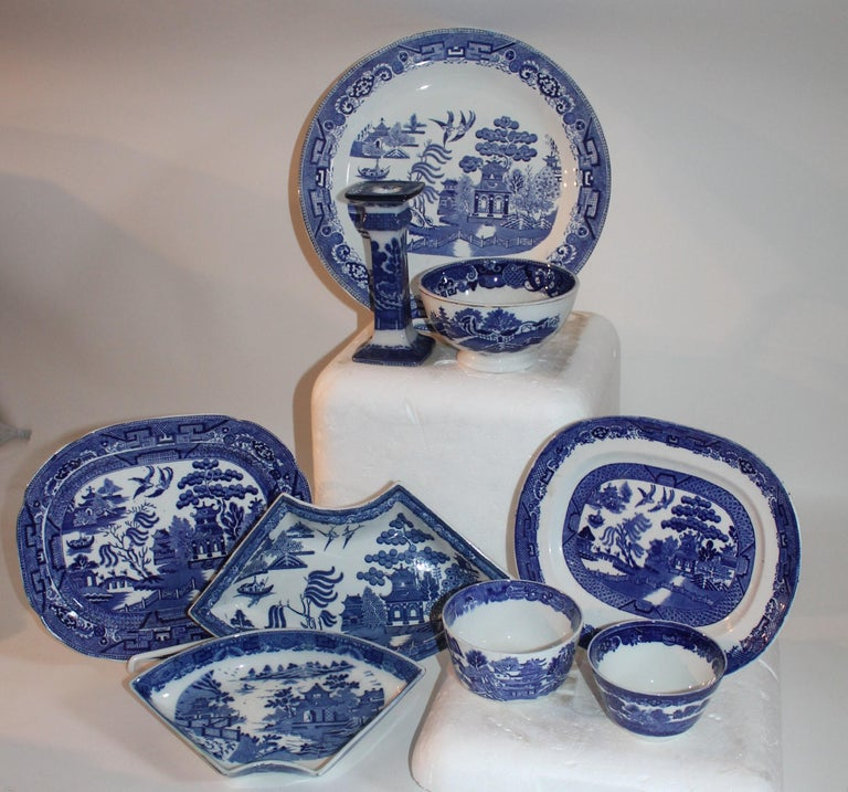 Glazed 19th-20th Century Blue Willow Collection, 9 Pcs For Sale