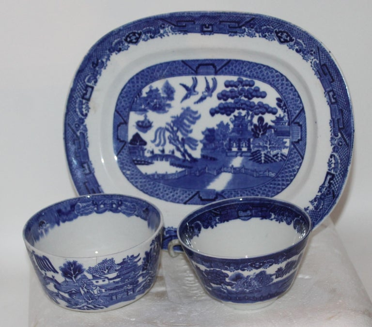 19th Century 19th-20th Century Blue Willow Collection, 9 Pcs For Sale