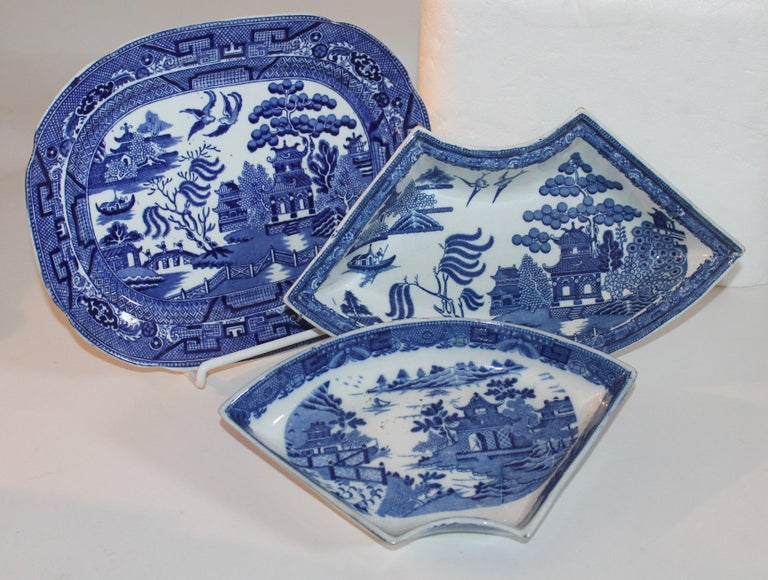 Pottery 19th-20th Century Blue Willow Collection, 9 Pcs For Sale
