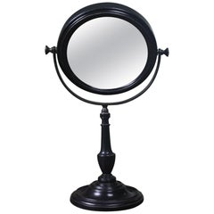 Adjustable Concave Ebonised and Brass Optical Scientific Mercury Mirror