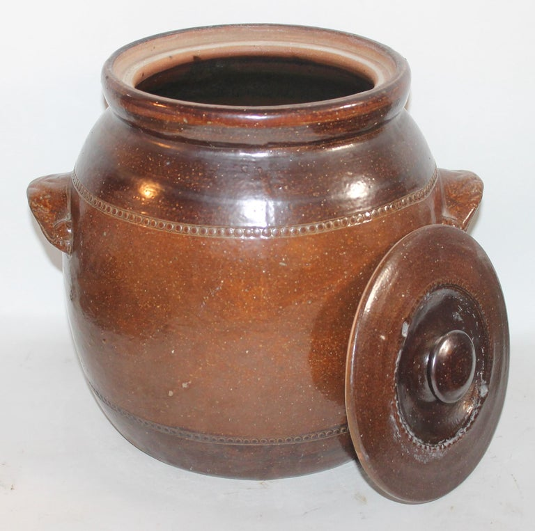 Country 19th Century Amazing Pottery Bean Pot with Handles For Sale