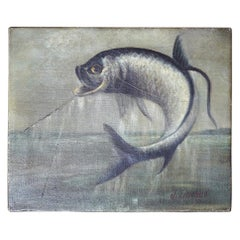 19thC American School Oil on Canvas Tarpon Fishing Study, J. Leonhard