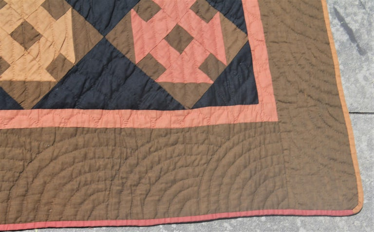 American 19th Century Amish Hole in the Barn Door Quilt, Dated 1890 For Sale