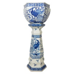 19thc Antique Chinese Blue and White Porcelain Jardinière Planter